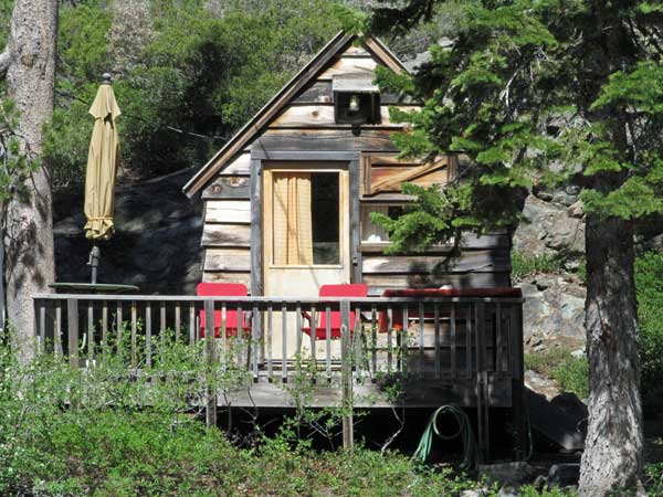 Frank Cabin has privacy at the edge of the grounds.