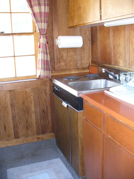 Marcus Cabin kitchen has everything you need to cook plus a barbeque outside.