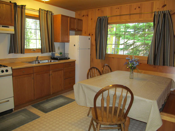 Drew Cabin's sunny country kitchen with refrigerator, sink, propane stove and dining table with benches and wood chairs.