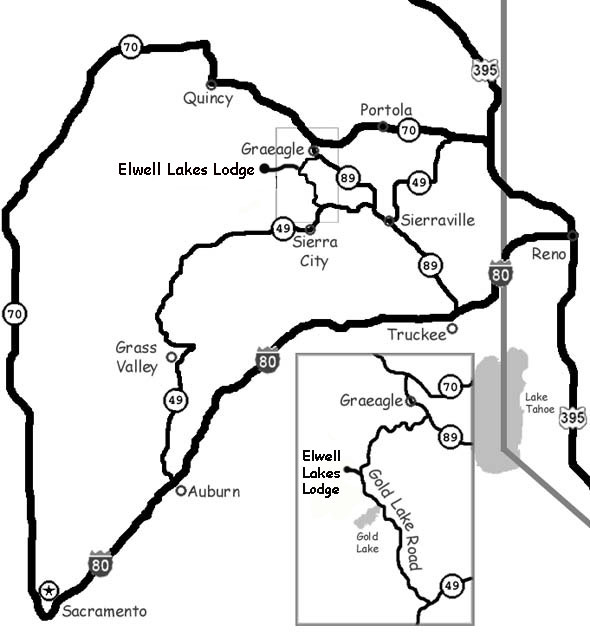 Map showing the highways and mountain roads you drive on to Elwell Lakes Lodge