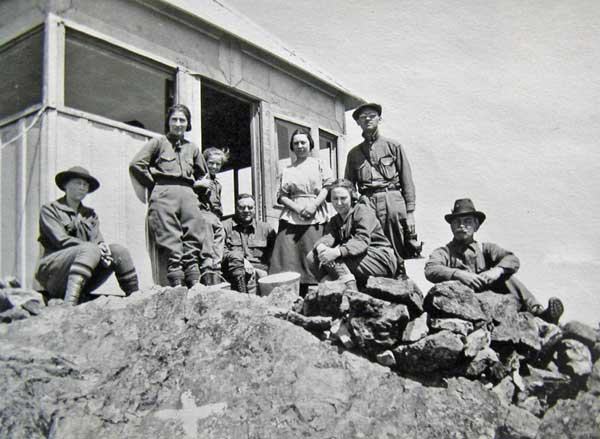 A lookout on top of Mt. Elwell in the 1920's was first manned by a woman ranger.