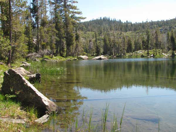 View of Little Bear Lake from the trail. One of four lakes you can visit on the Bear Lakes Loop.