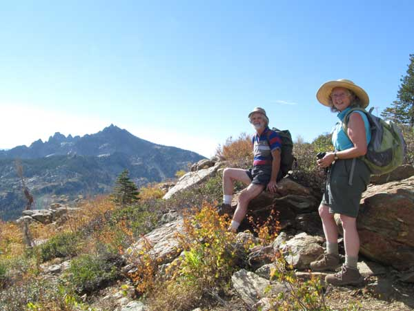 The vista of the Sierra Buttes from the PCT trail. John and Sugie on a day off.