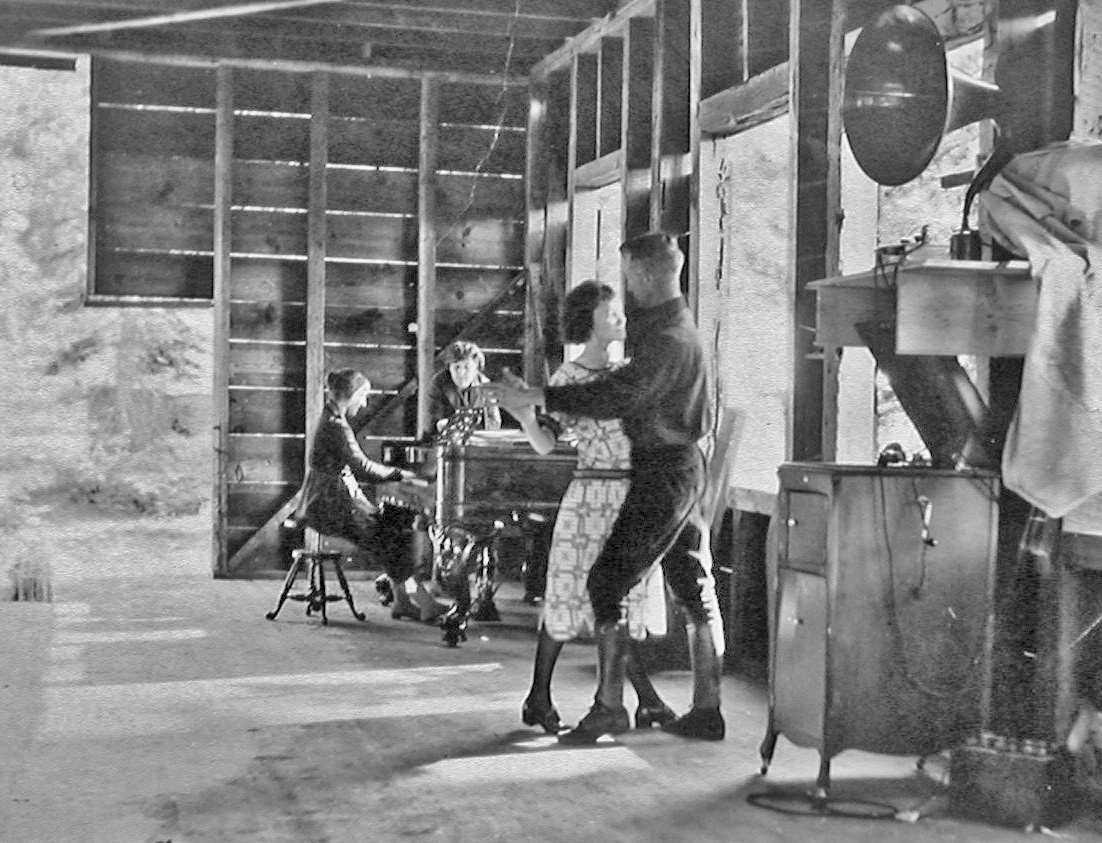 The inside of the Recreation Hall about 1922 before the fireplace is built. The building was already used for activities such as dancing to the music of the piano and Victrola.