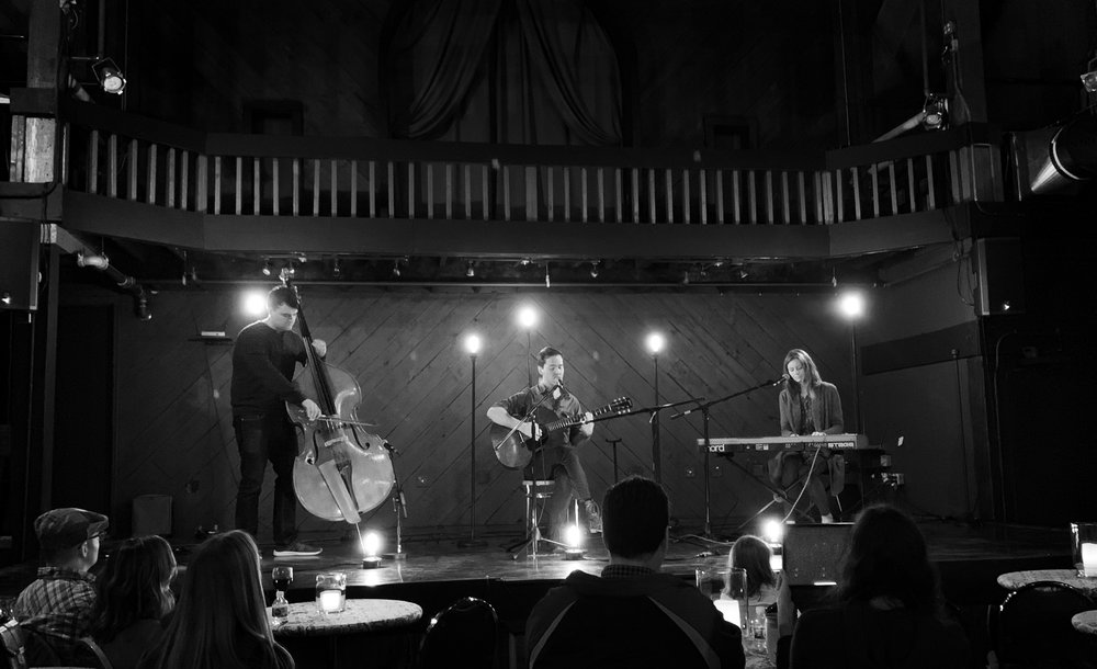 Nathan Peterson, Heather Peterson, and James Ross perform album release concert in Peoria Illinois