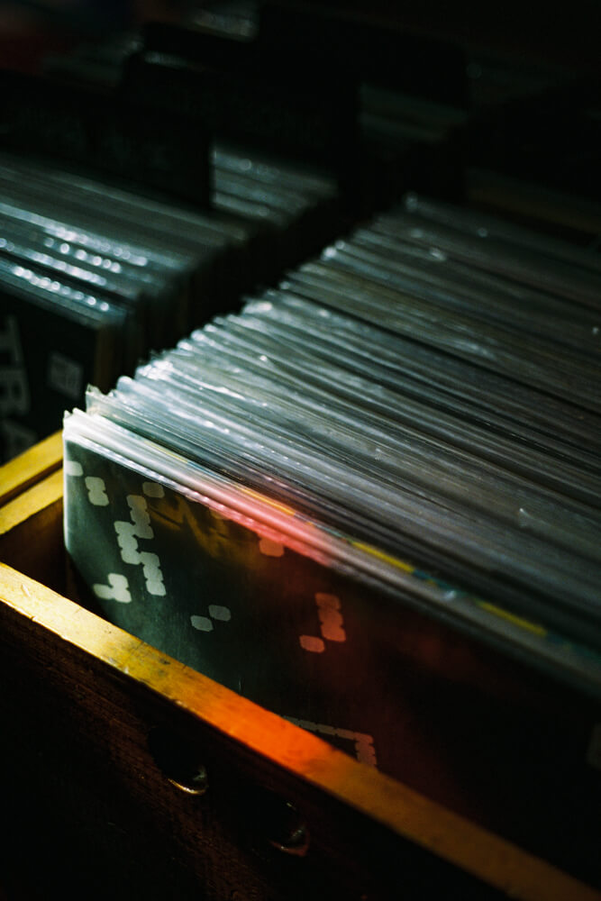 Record stack in the dark