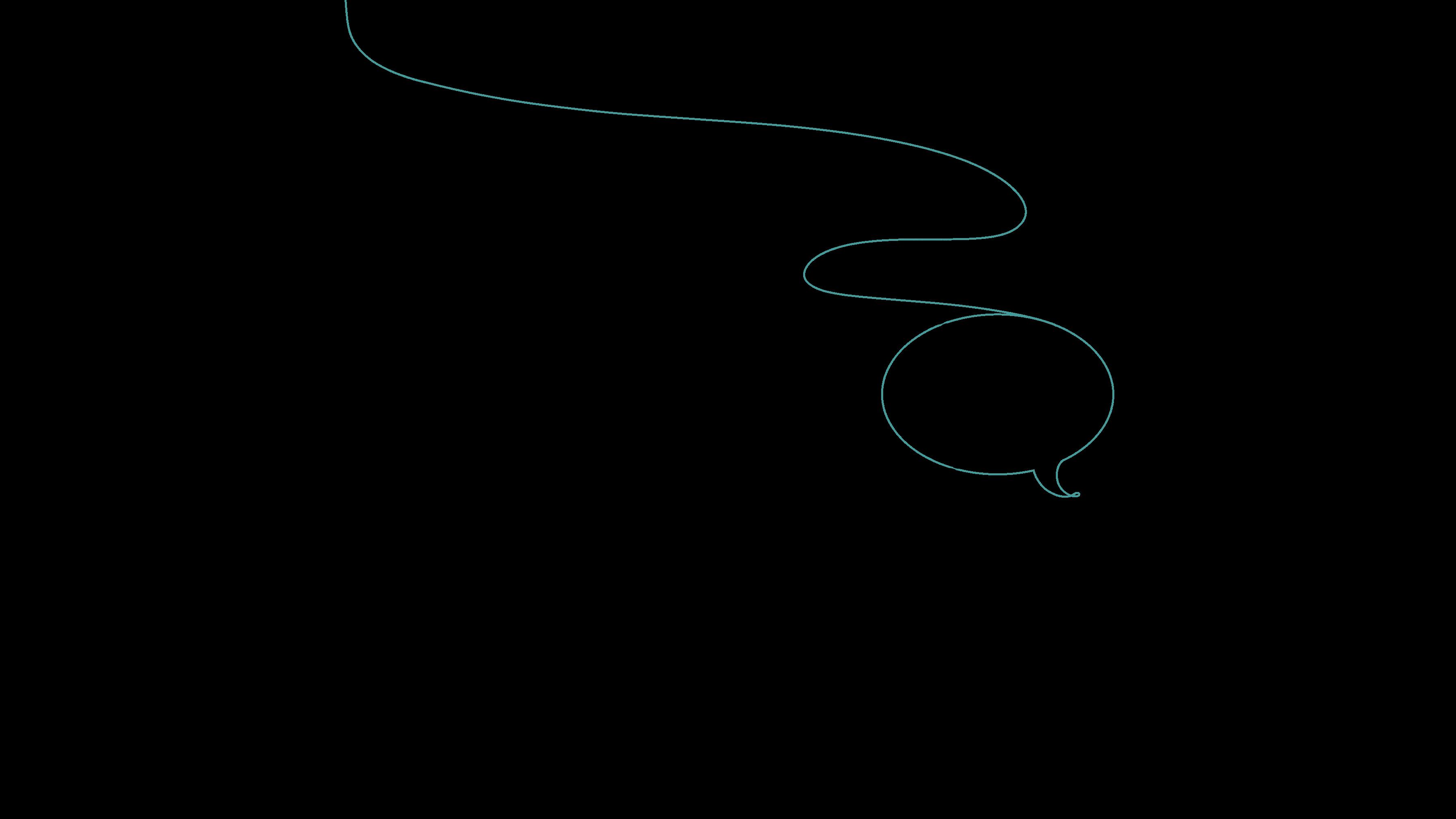Der illustrierte Faden verwandelt sich in zwei Sprechblasen.