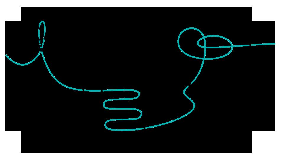 Ein türkiser Faden zieht sich durch eine Glühbirne, Konzept-Papiere und eine Sprechblase. Thema: Strategisches Design