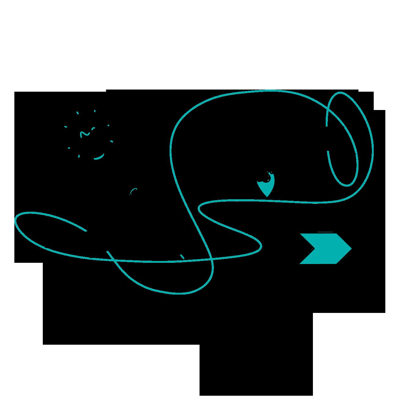 Zwei Hände sind zu sehen: Die eine hält einen Stift in der Hand und zeichnet eine türkise Schnur weiter, während die andere Hand eine Karten-Markierung auf die gemalte Schnur setzt. Eine Glühbirne als Symbol für Idee schwebt über der Hand mit dem Stift. Ein schritthafter Prozess-Balken liegt unter der Marker-Hand