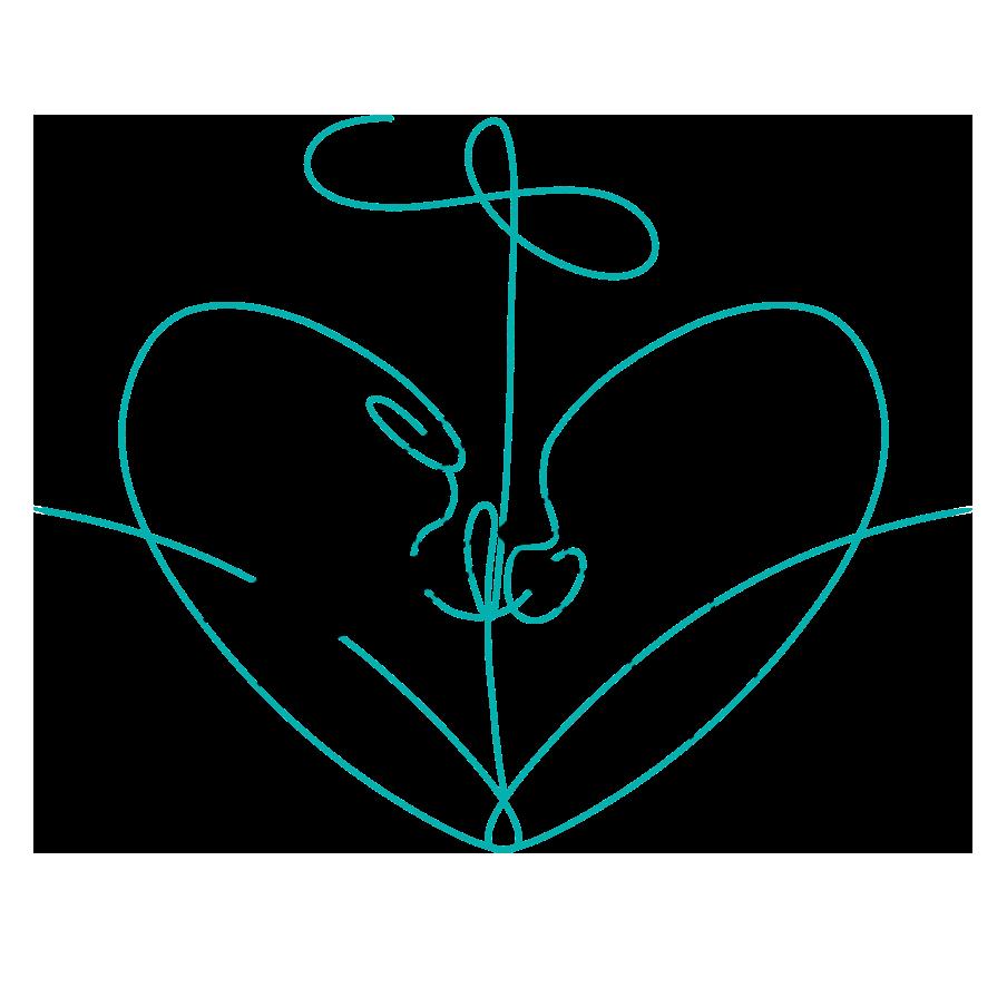 Zwei Hände verbinden eine türkise Schnur, die sie umgibt und eine Mischung aus Herz und Anker bildet. Thema: Gather and Connect