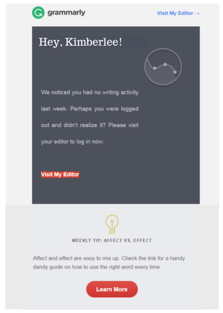 Grammarly email nudge for inactivity