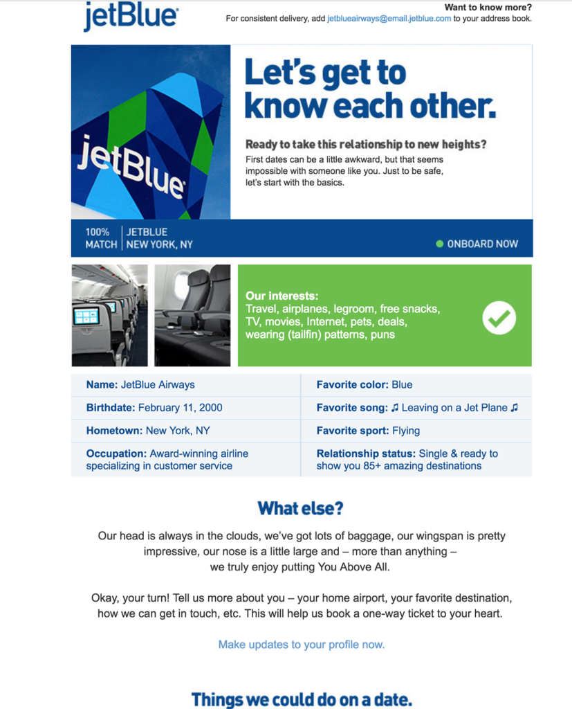email from jet blue example with headline Let's Get to Know each other