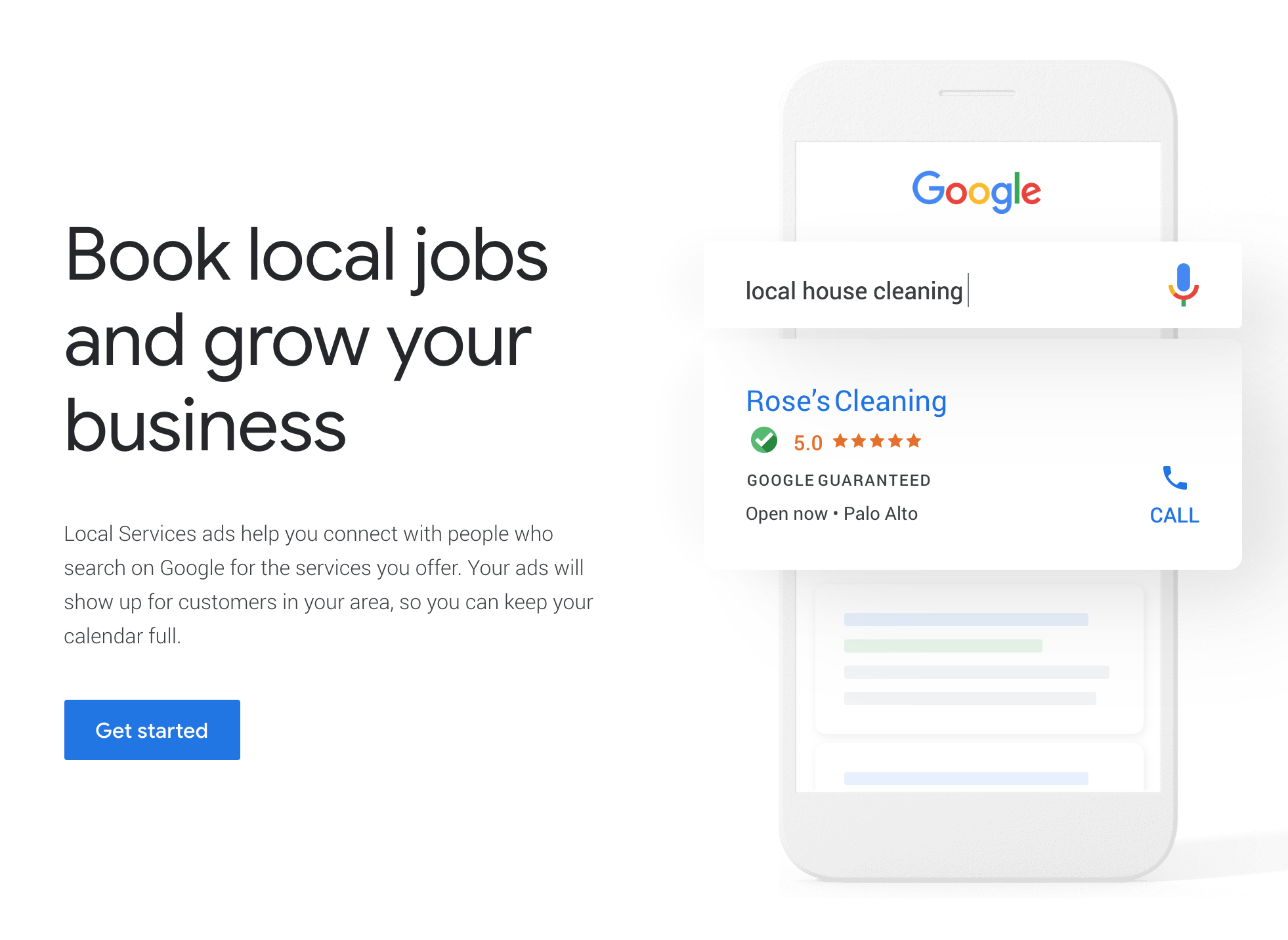 A landing page for setting up Google local service ads