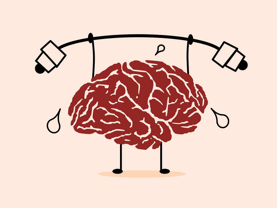 An illustration of a brain lifting weights