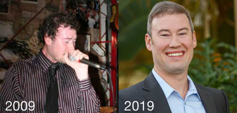 A side-by-side of the author in 2009 and 2019
