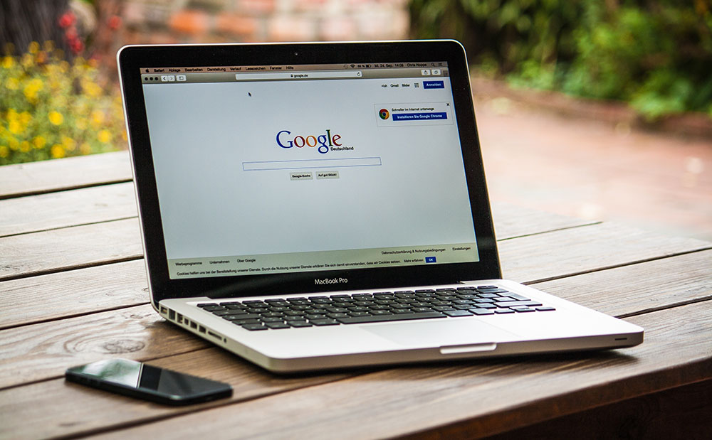 laptop with google