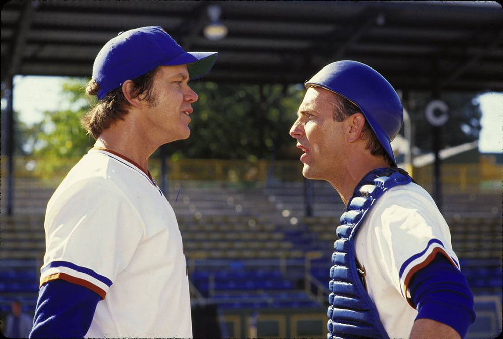 The characters of Tim Robbins and Kevin Costner arguing in the movie Bull Durham