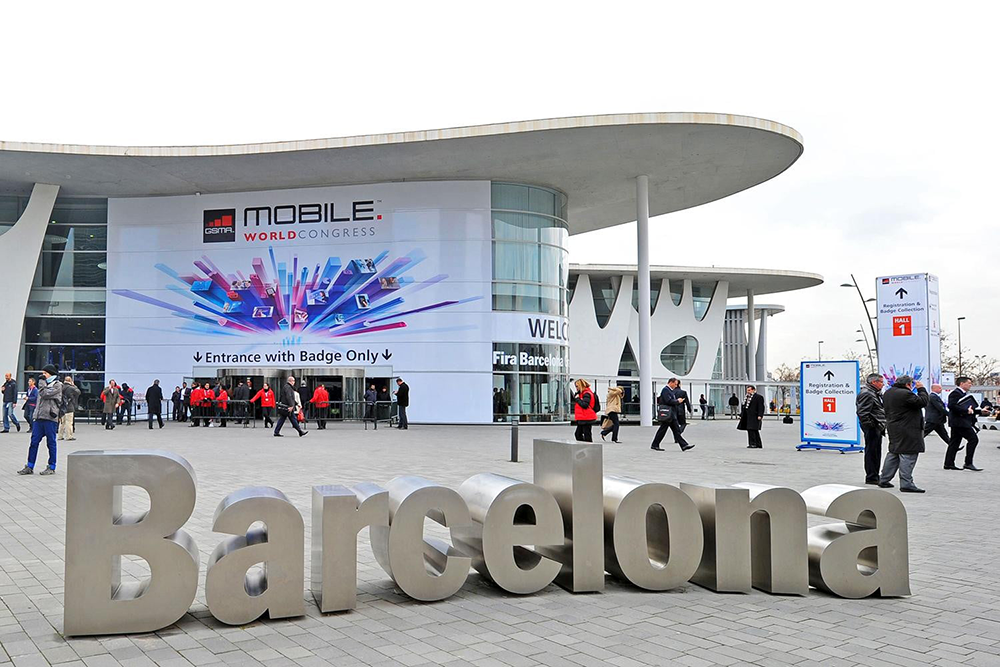 A sign outside the conference that says Barcelona