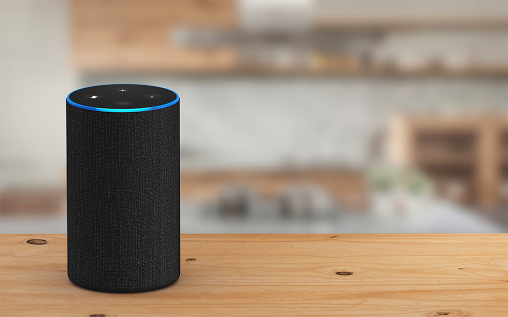 An Amazon Echo device in a home