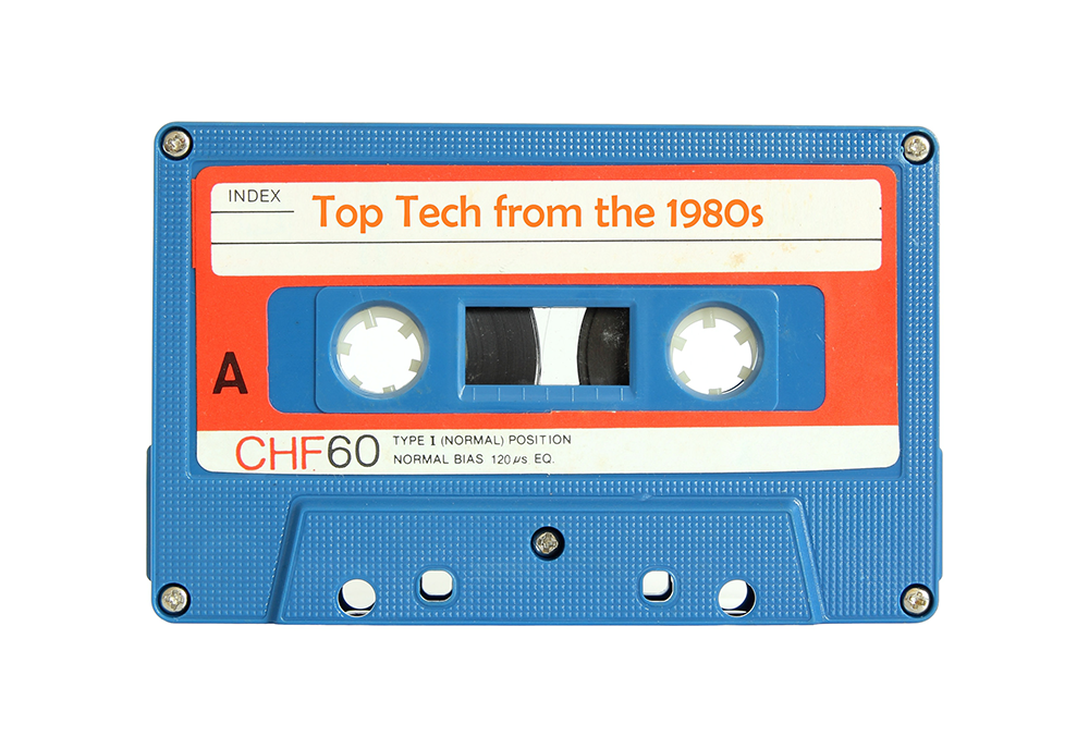 """A cassette tape that is labeled with """"Top Tech from the 1980s"""""""