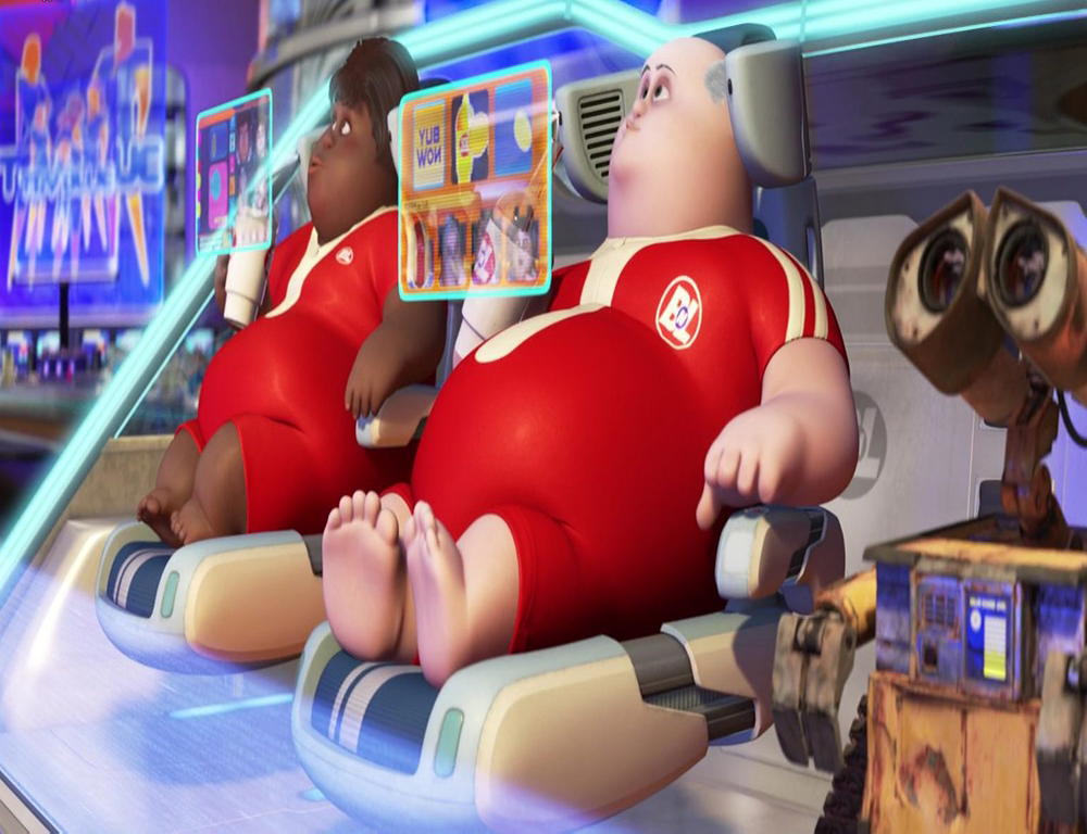 A couple of sedentary characters from the movie Wall-E