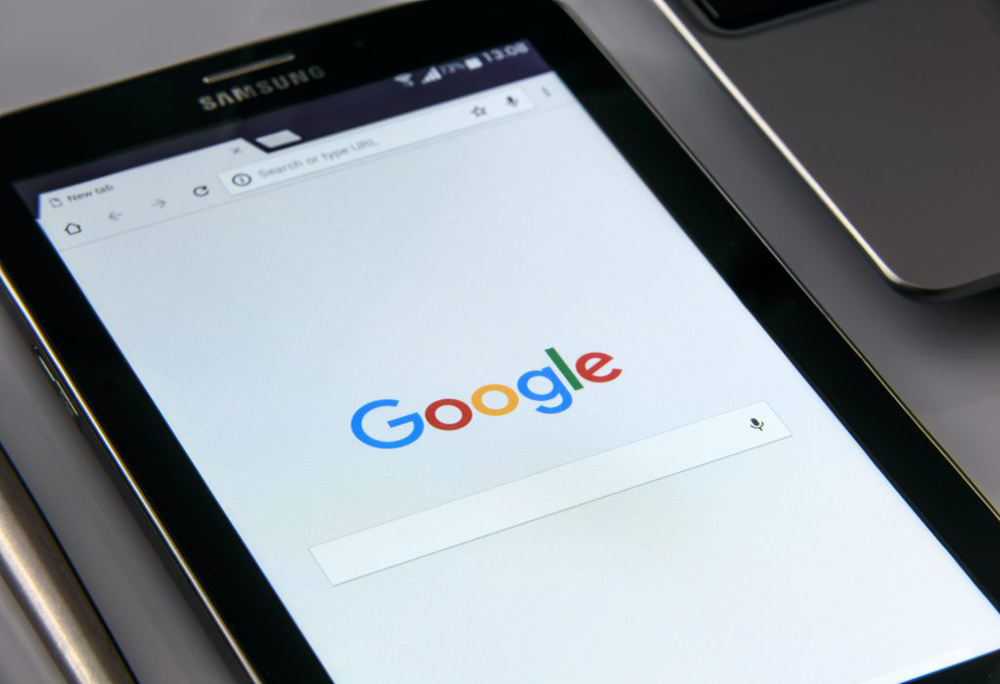 A smart phone with Google on the screen