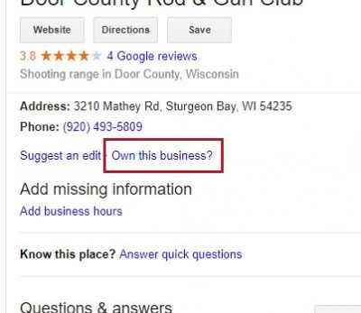 Claiming a Google My Business listing