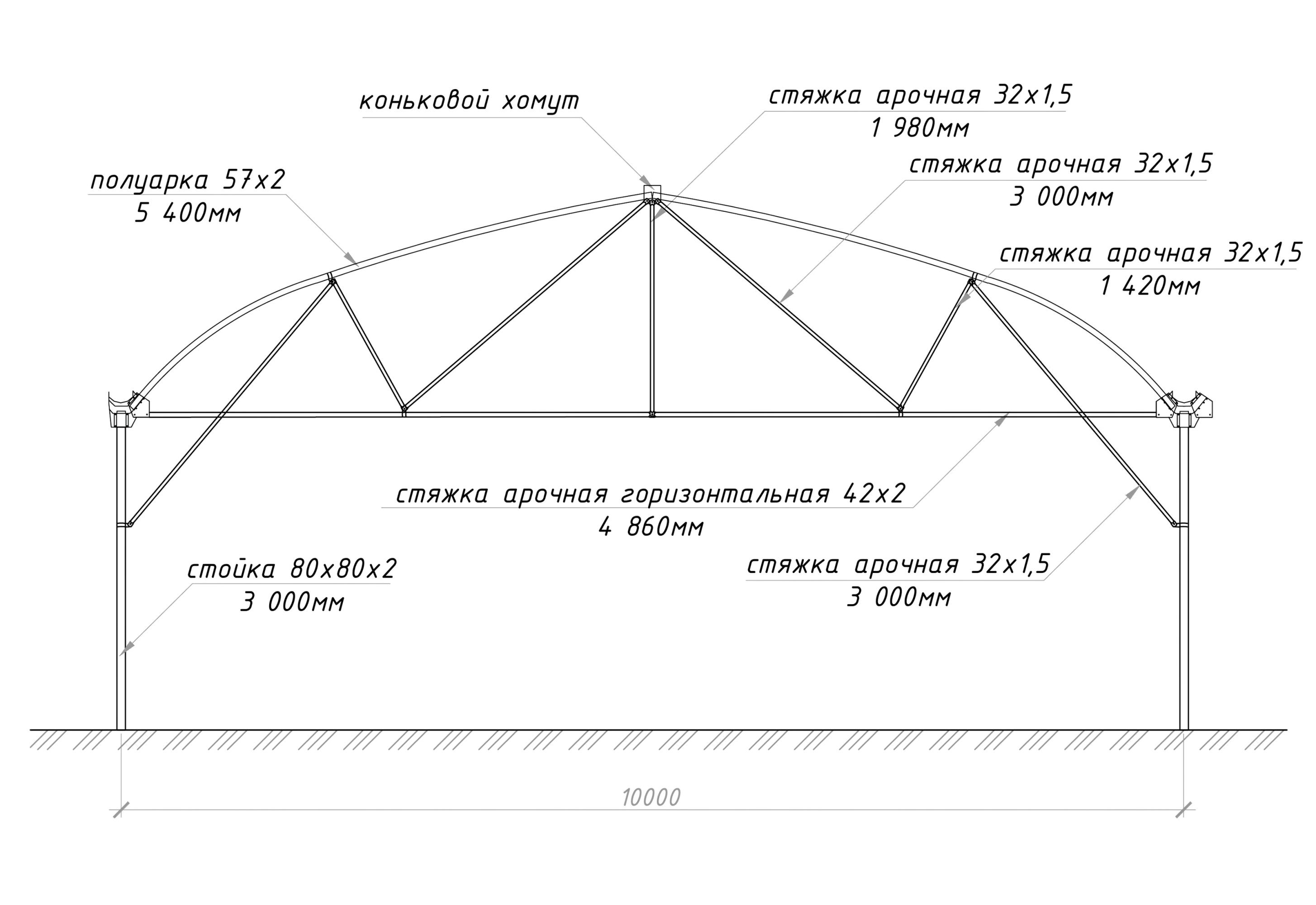 Многорядная (блочная) теплица 10м