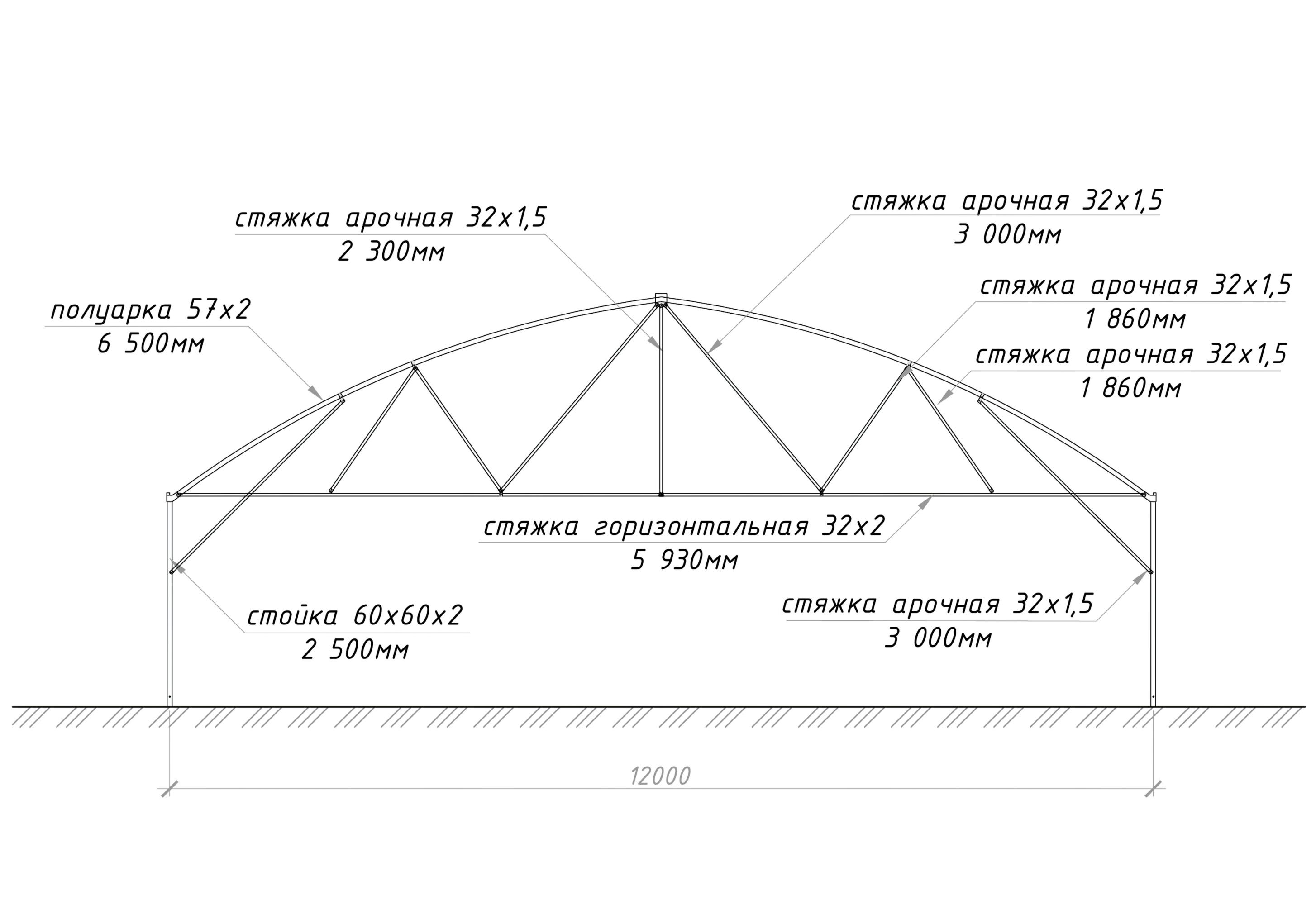 Теплица с прямой стенкой 12м