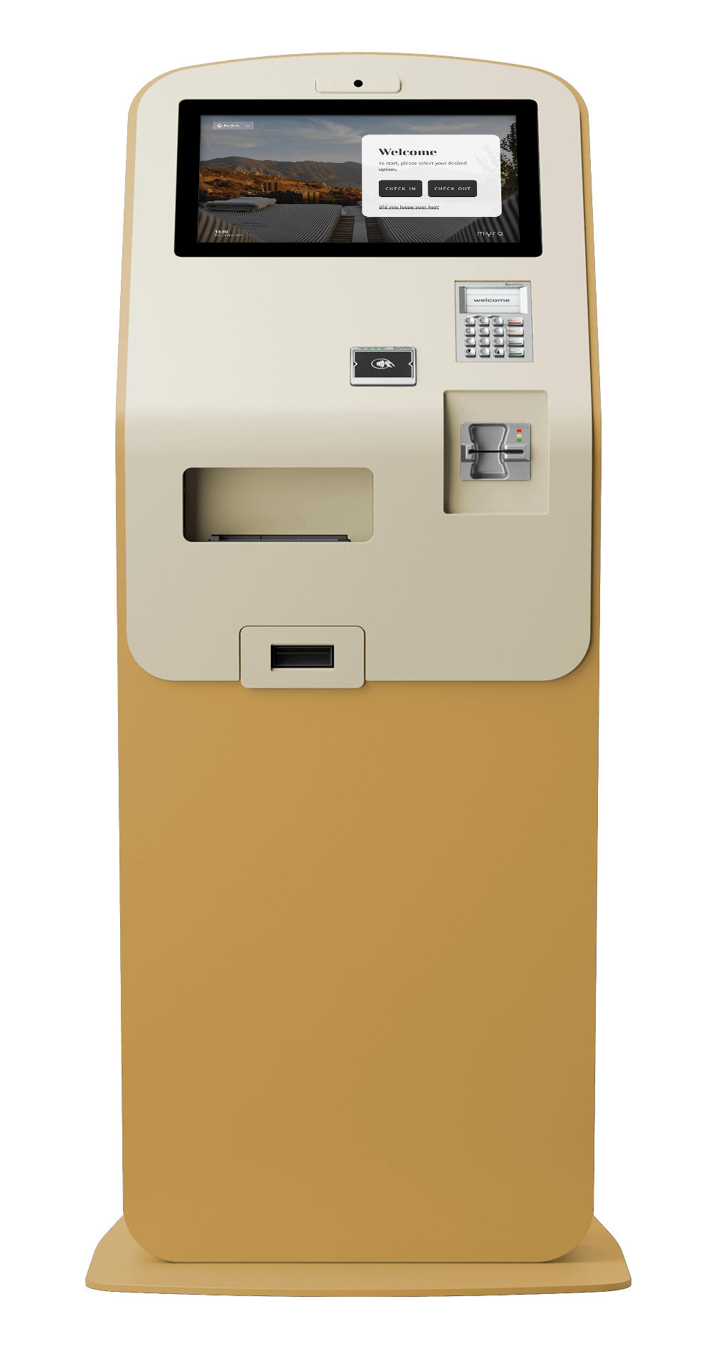 myra-check-in-kiosk-frontal-yellow