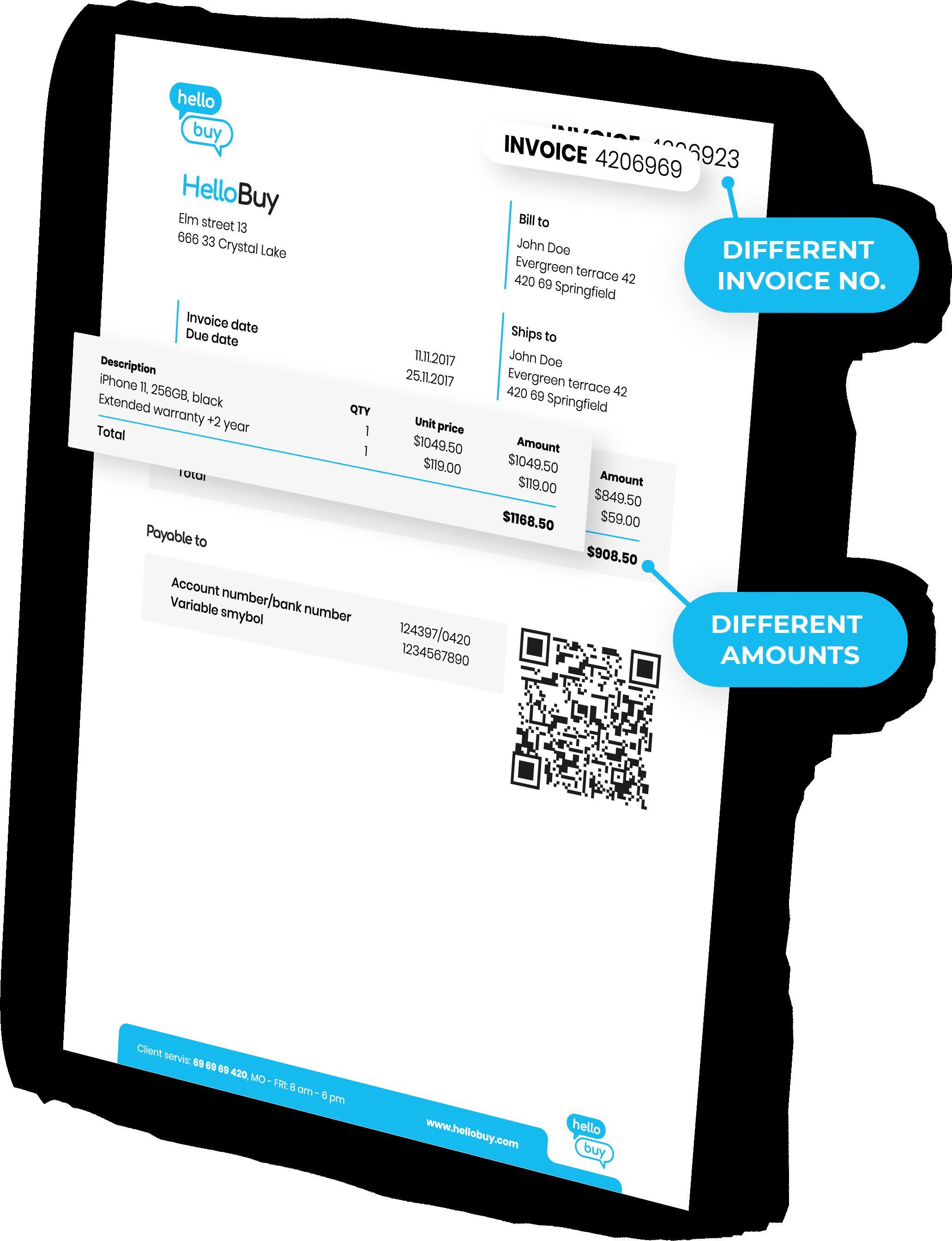 Invoice changes detection