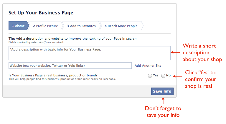 How to create a FB business page 2