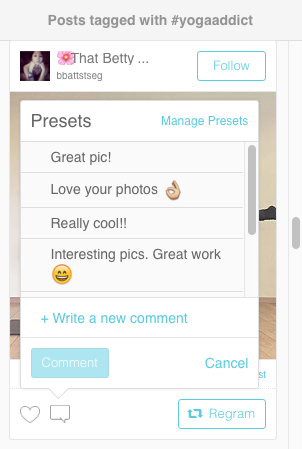 Preset Comments for Instagram