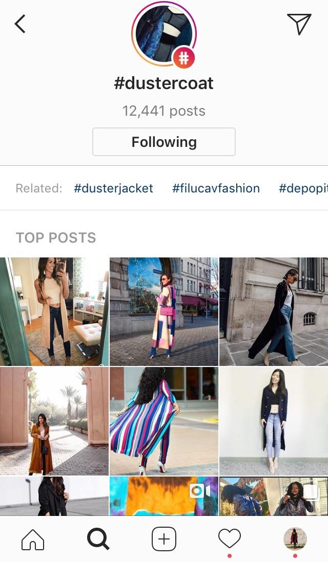 Instagram hashtags following