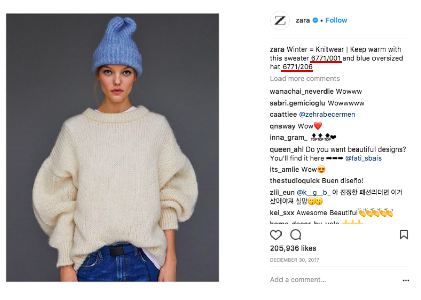 Zara Instagram posts with reference code