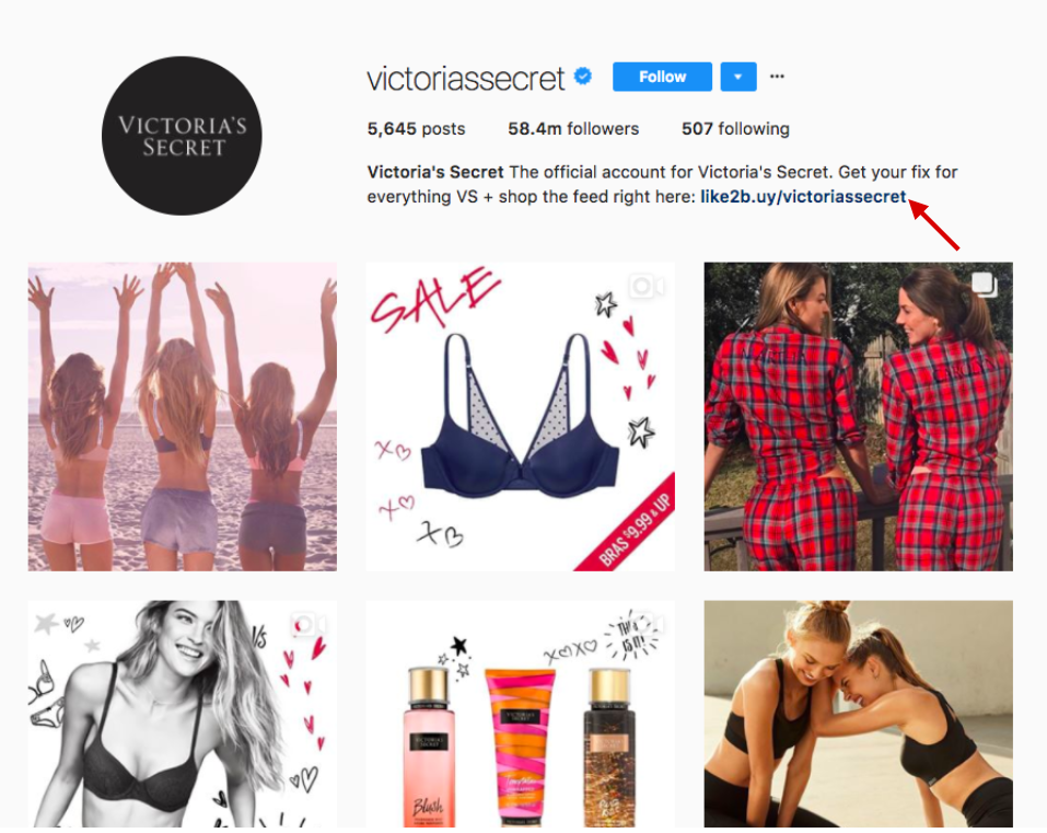 Victoria's Secret shoppable Instagram