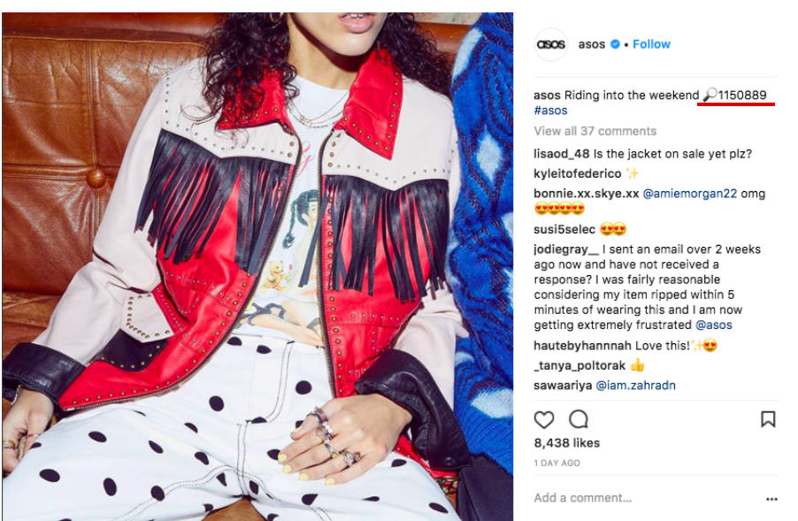 Asos Instagram post with reference code
