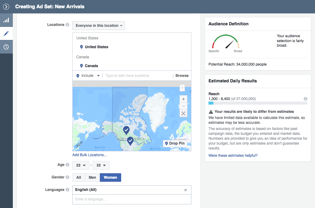 Facebook demographics and location targeting