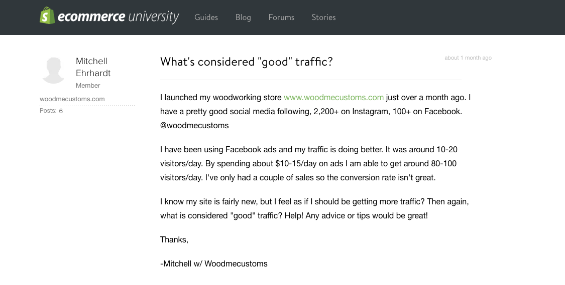 What is good traffic - Shopify Question