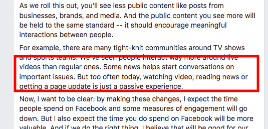 Zuckerberg's news feed update post. He mentions how video is mostly just passive engagement.
