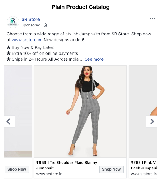 Plain Product Catalog ad run by SR Store