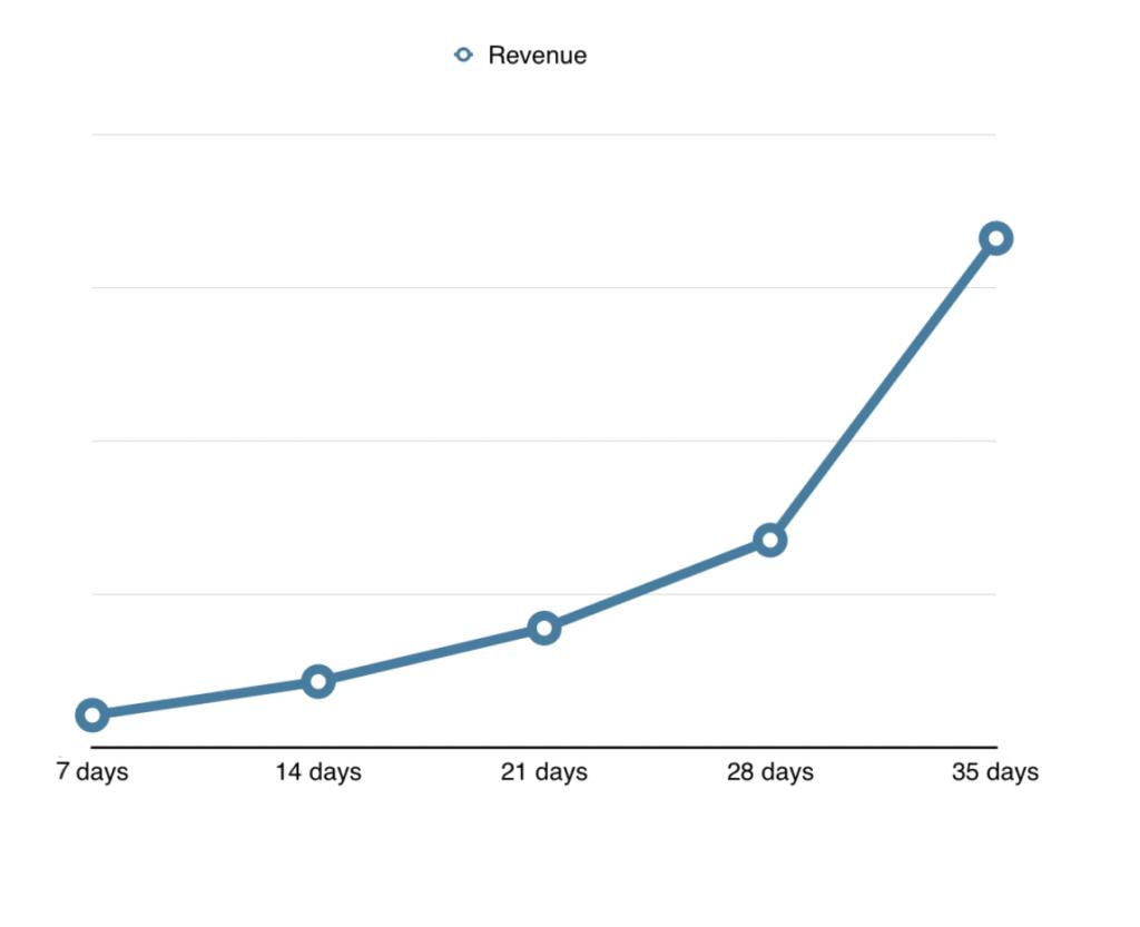 SR Store revenue graph with Socioh's campaigns