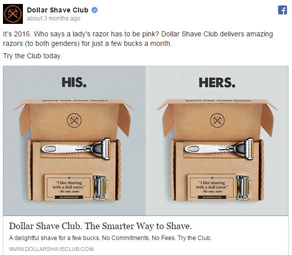 Dollar Shave Club Facebook ad example