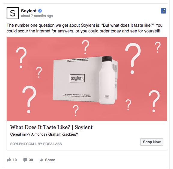 Soylent Facebook ad example
