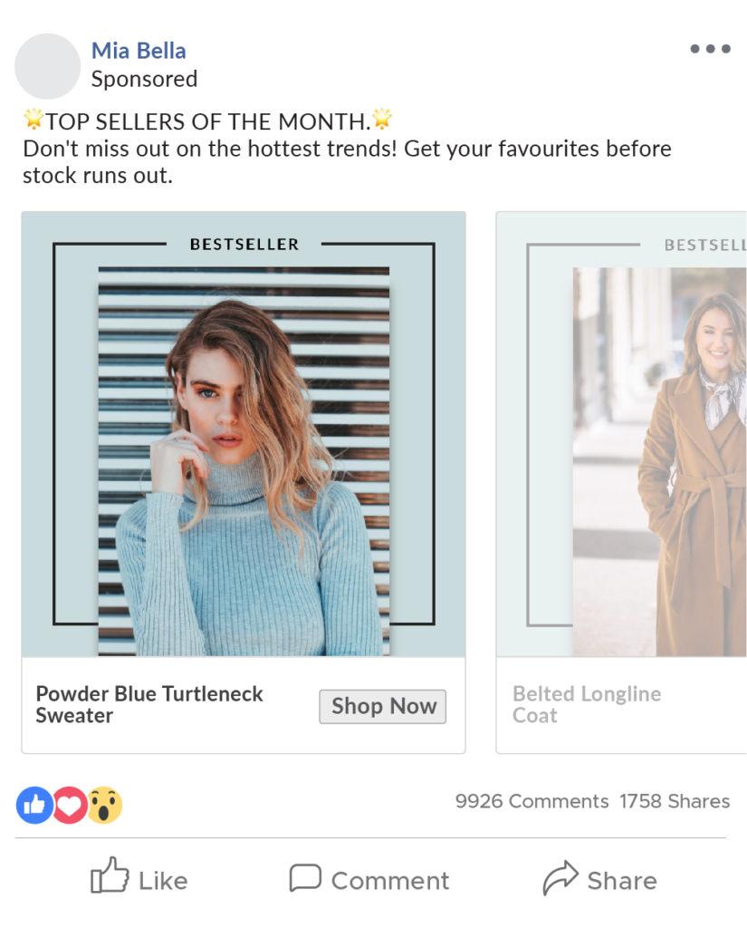 Bestseller ad catalog for women's wear