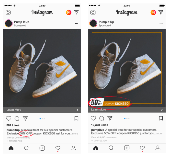 Plain Catalog VS Branded Catalog comparison for Instagram