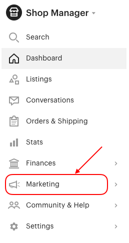 etsy marketing tab