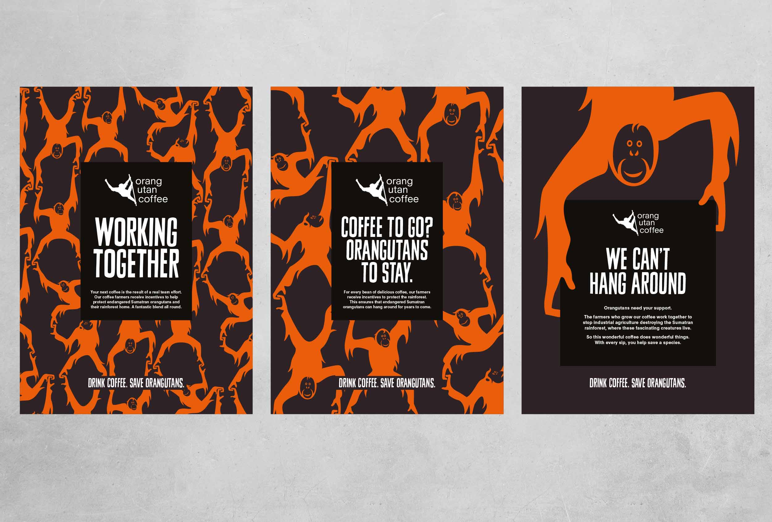 Branding for Orang Utan coffee, applied to a campaign of point-of-sale material.