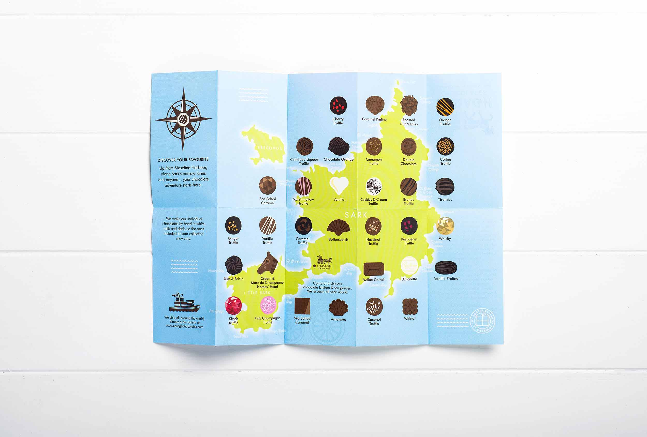 Chocolate menu for inside packaging, designed as an island map for Caragh Chocolates.