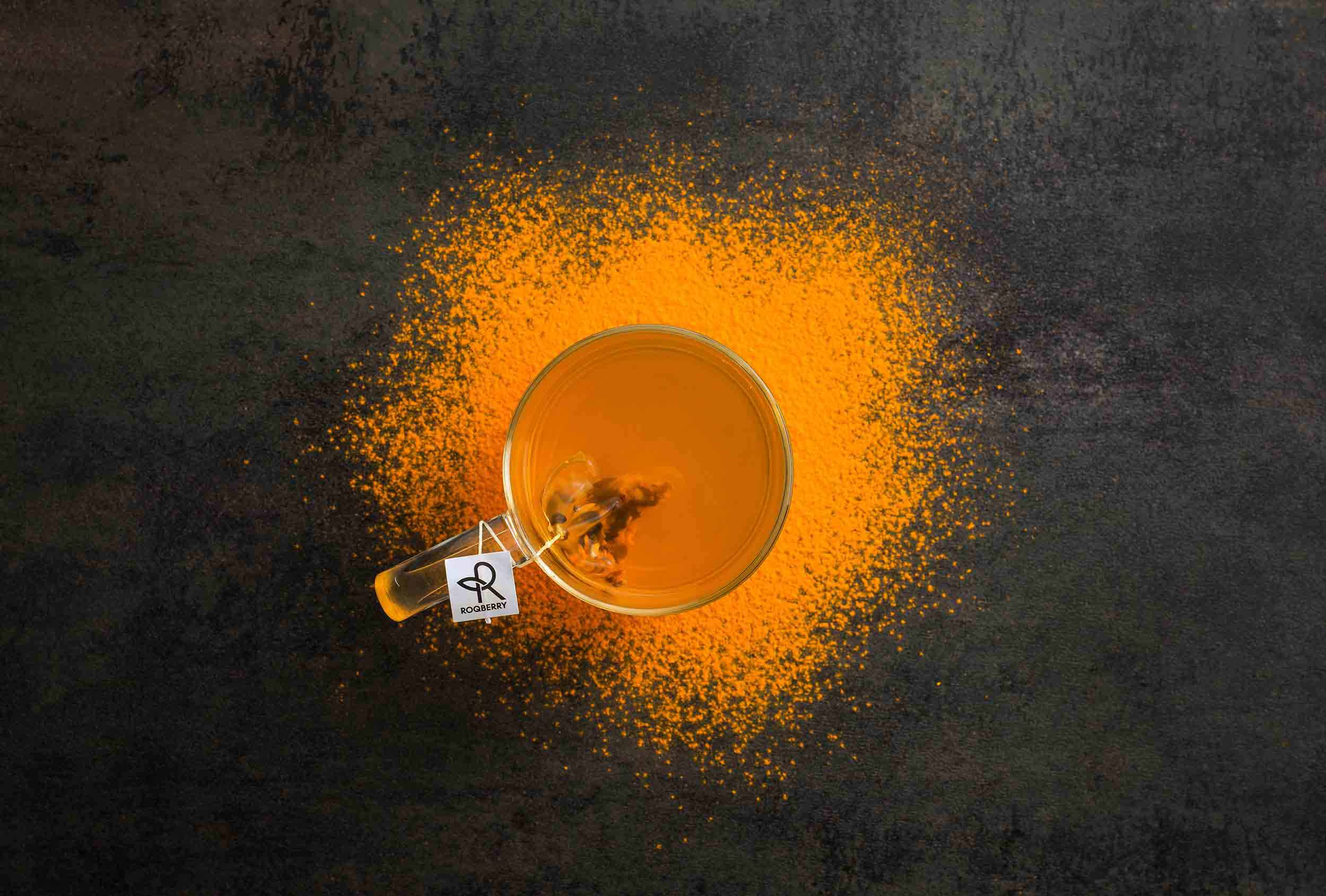 Roqberry Turmeric Chai. Art directed by Distil Studio. Photography by Michael Feather.